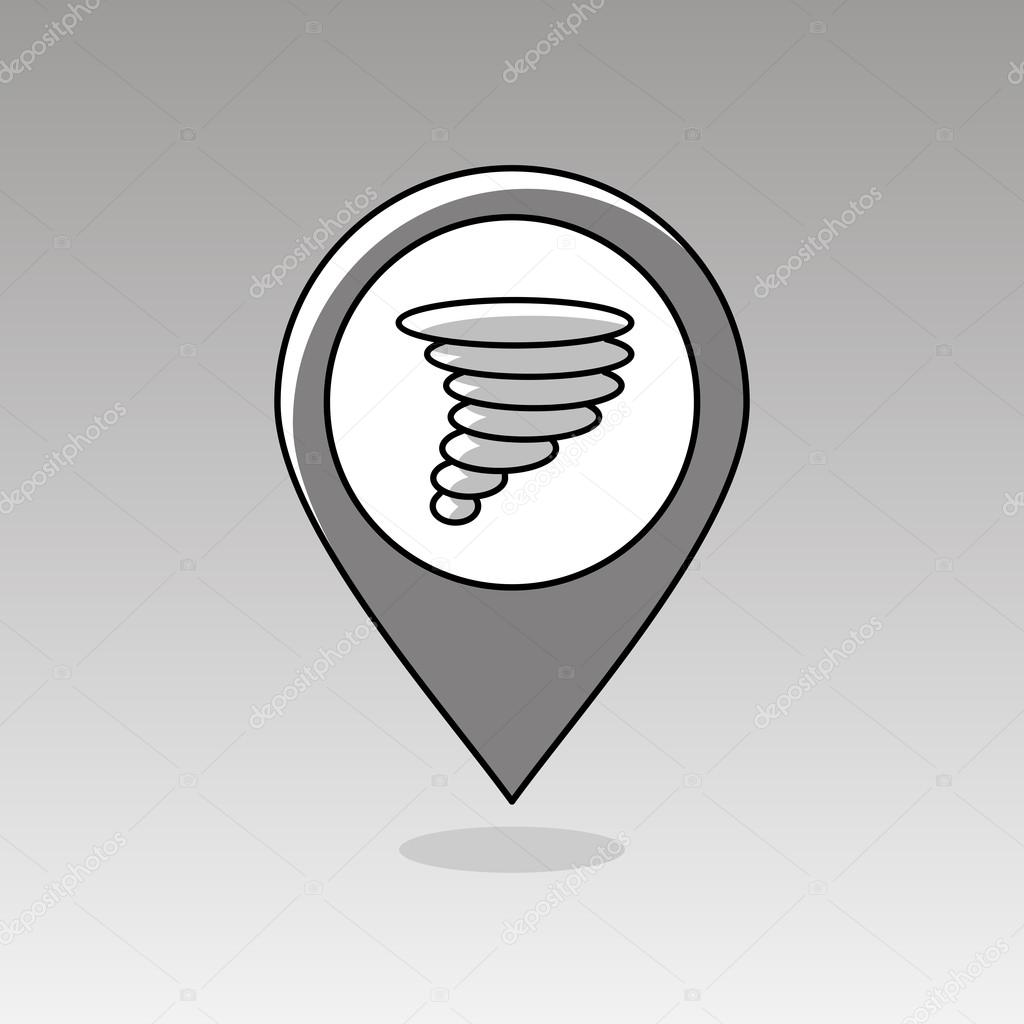 Tornado Symbol On Weather Map.Tornado Whirlwind Pin Map Icon Weather Stock Vector C Ayra 104813250