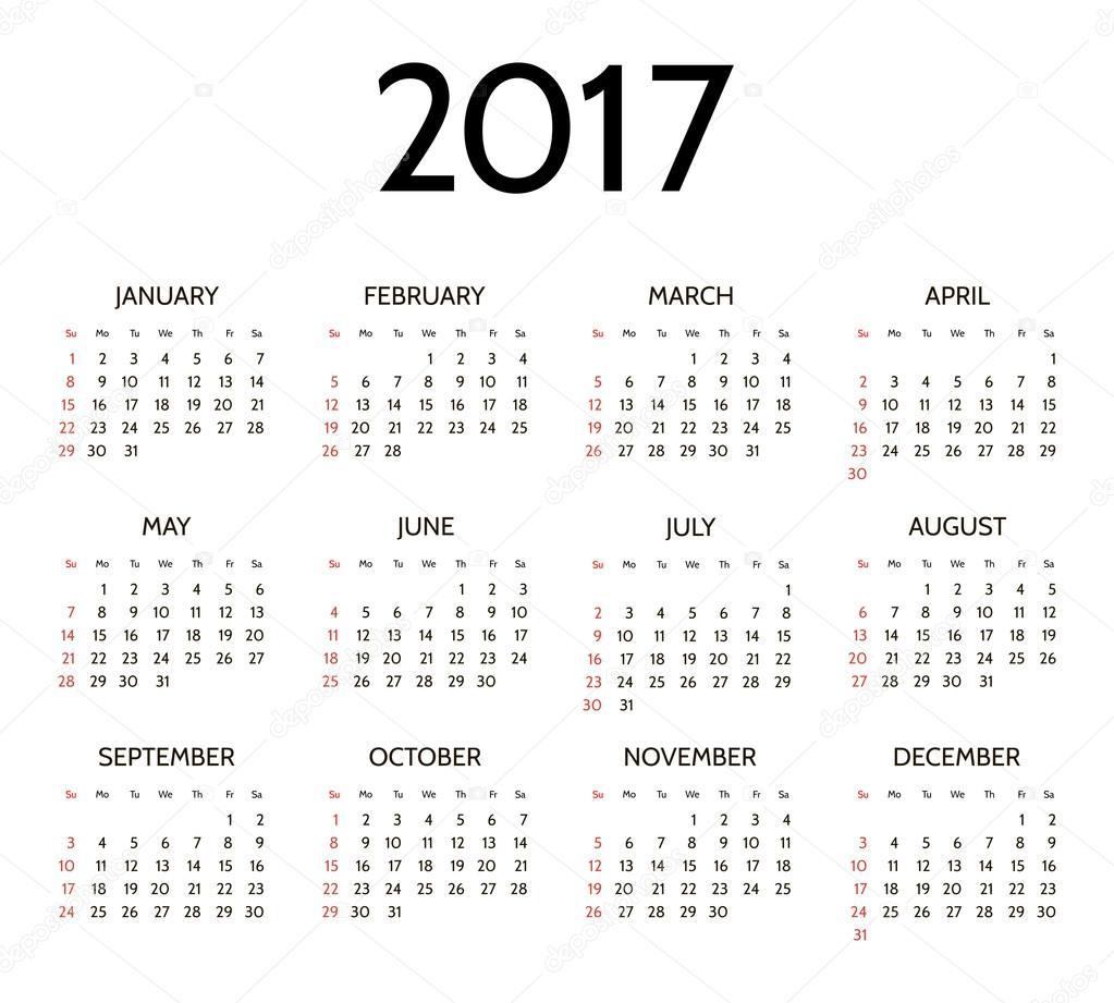 éves naptár Vektor egyszerű 2017 éves naptár — Stock Vektor © ayra #121040388 éves naptár