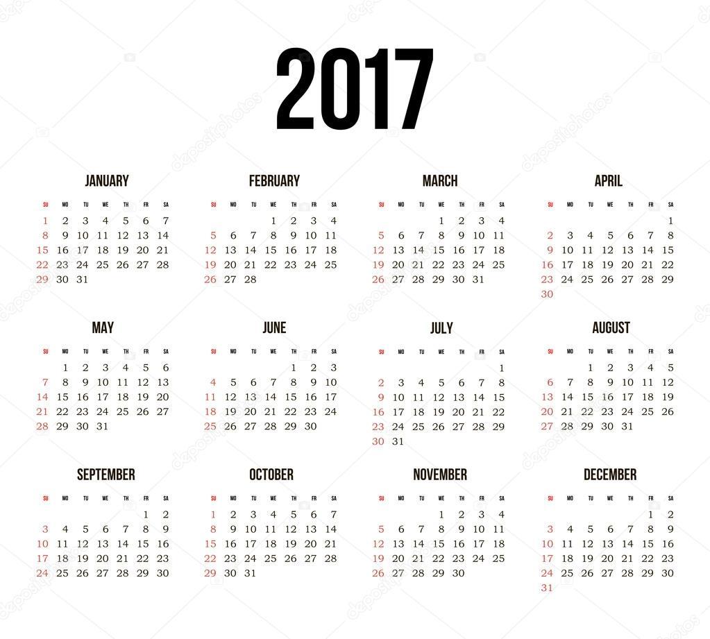 éves naptár Vektor egyszerű 2017 éves naptár — Stock Vektor © ayra #121041932 éves naptár