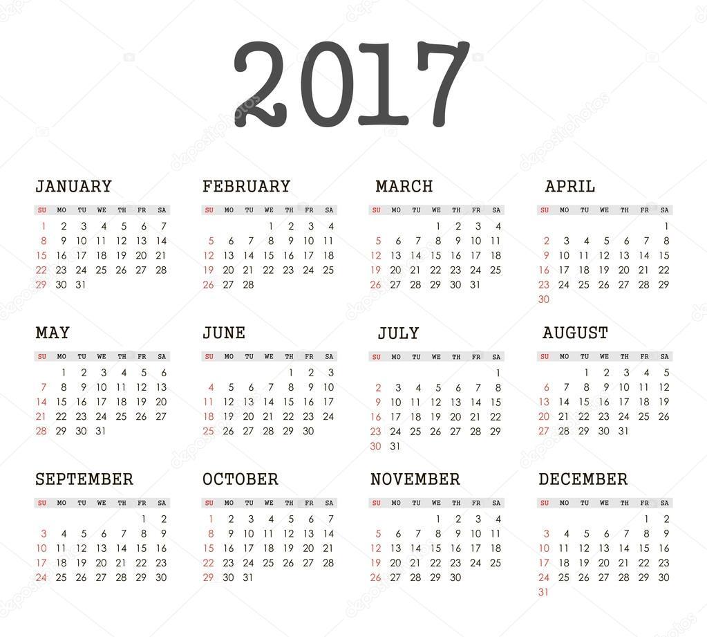 éves naptár Vektor egyszerű 2017 éves naptár — Stock Vektor © ayra #121044272 éves naptár