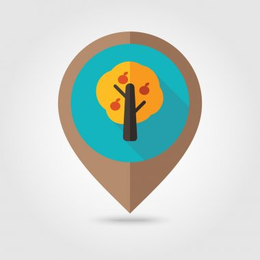 Fruit tree flat mapping pin icon
