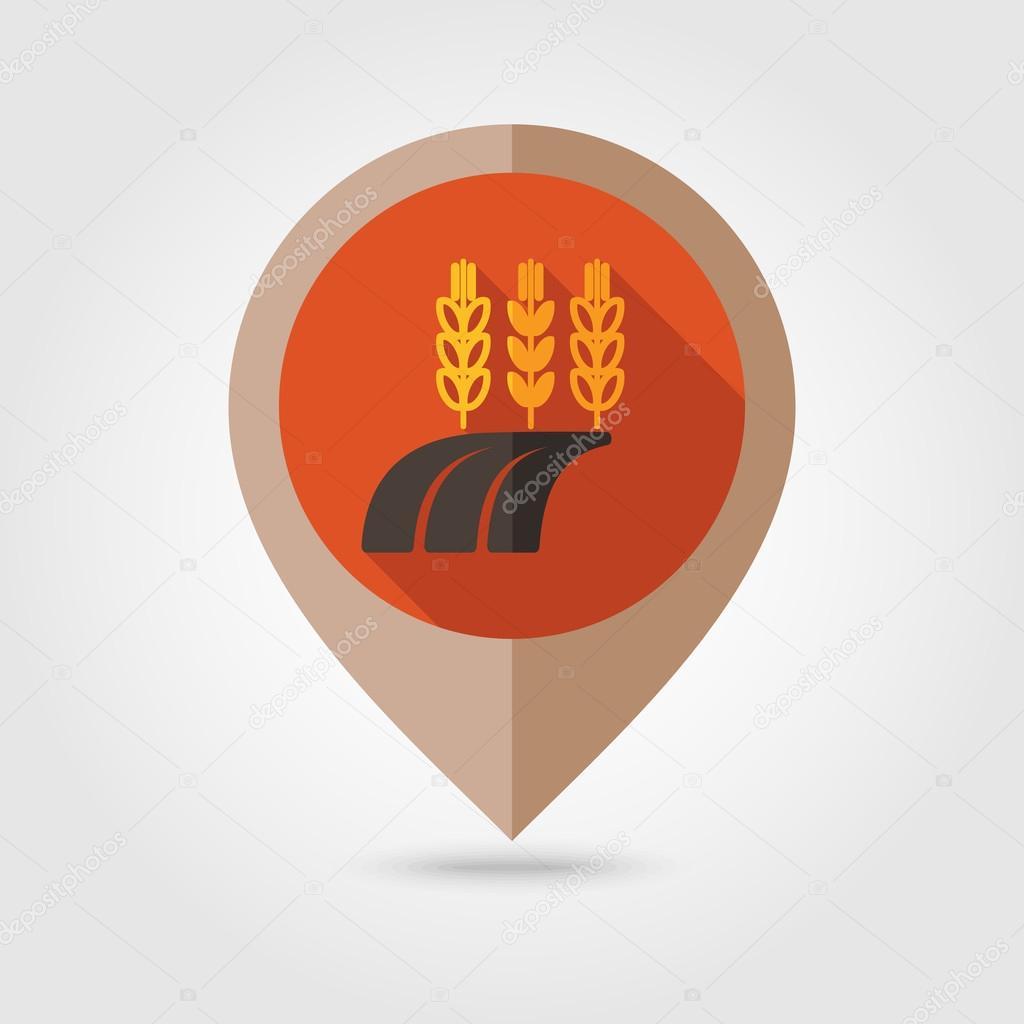 Ears Wheat, Barley Rye on Field flat pin map icon