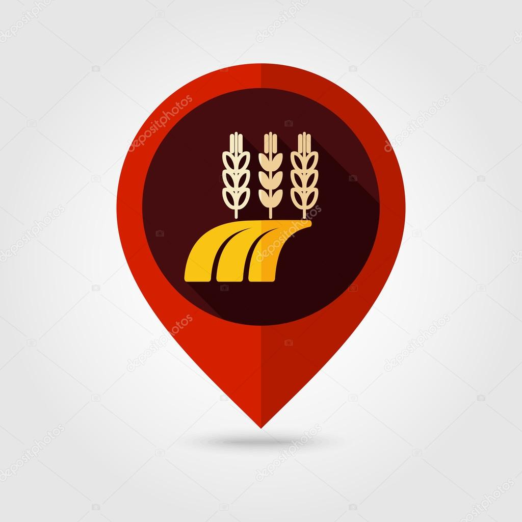 Ears Wheat, Barley Rye on Field flat pin map icon