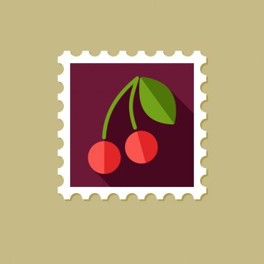 Cherry flat stamp with long shadow
