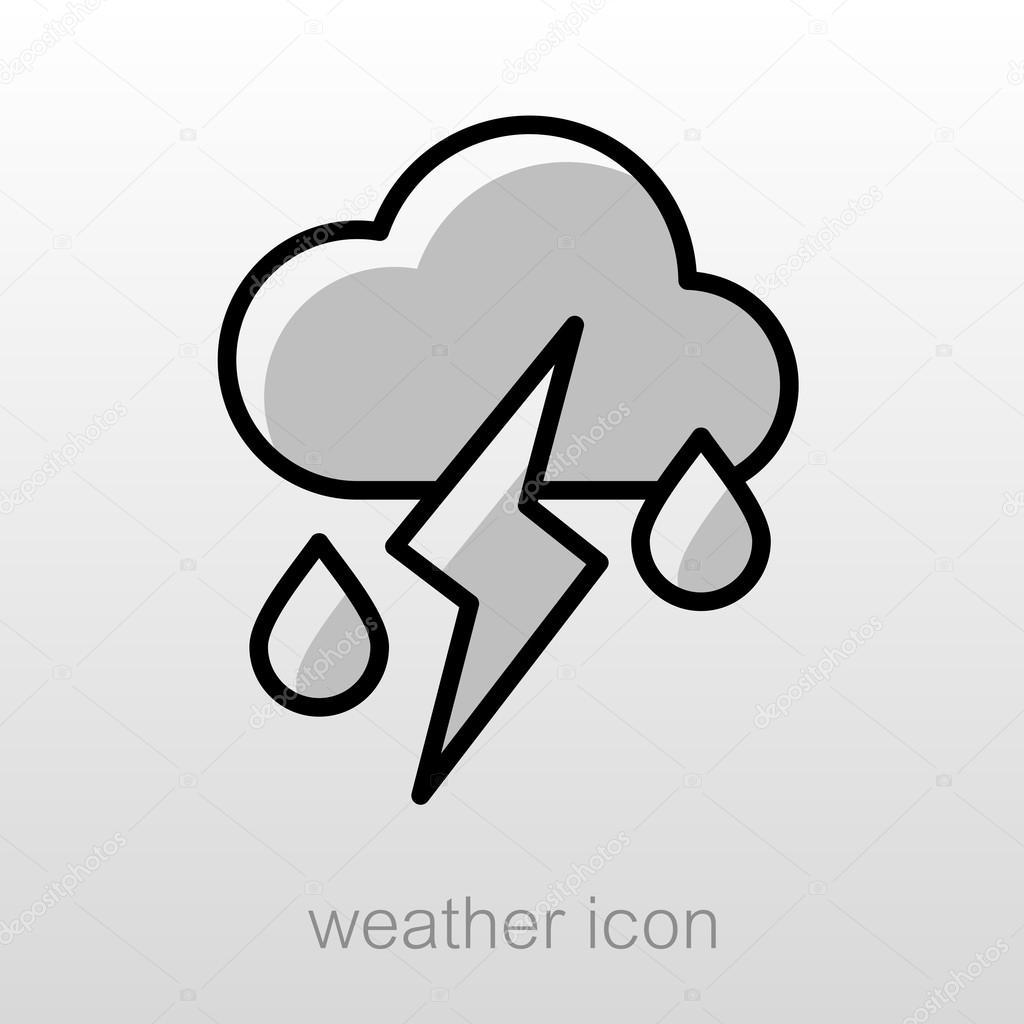 Bulut Yağmur Yıldırım Ikonuna Hava Durumu Stok Vektör Ayra