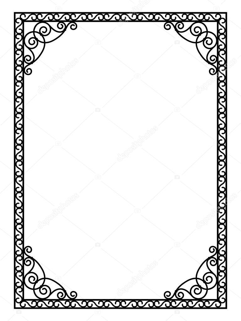 forjado de metal marco negro abstracto calado — Archivo Imágenes ...