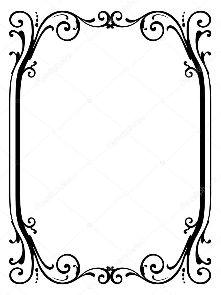 Calligraphie Calligraphie Bouclés Cadre Baroque Noir Image