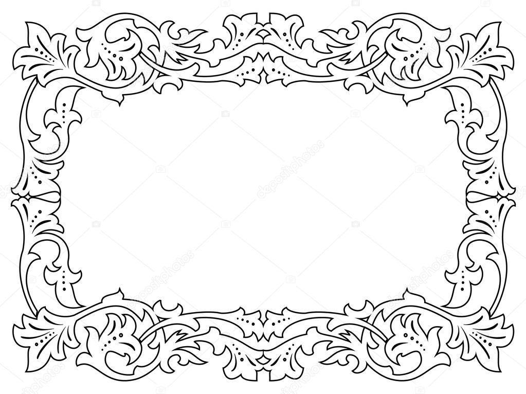 calligraphy penmanship curly baroque frame black — Stock Vector ...