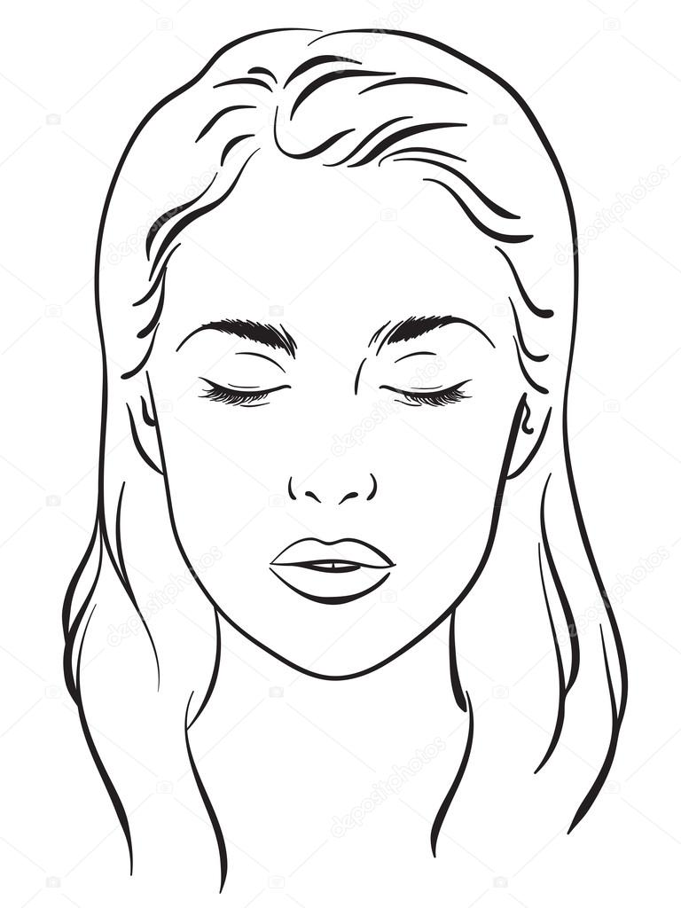 hermosa mujer con los ojos cerrados carta de cara maquillaje artista en blanco plantilla vector. Black Bedroom Furniture Sets. Home Design Ideas