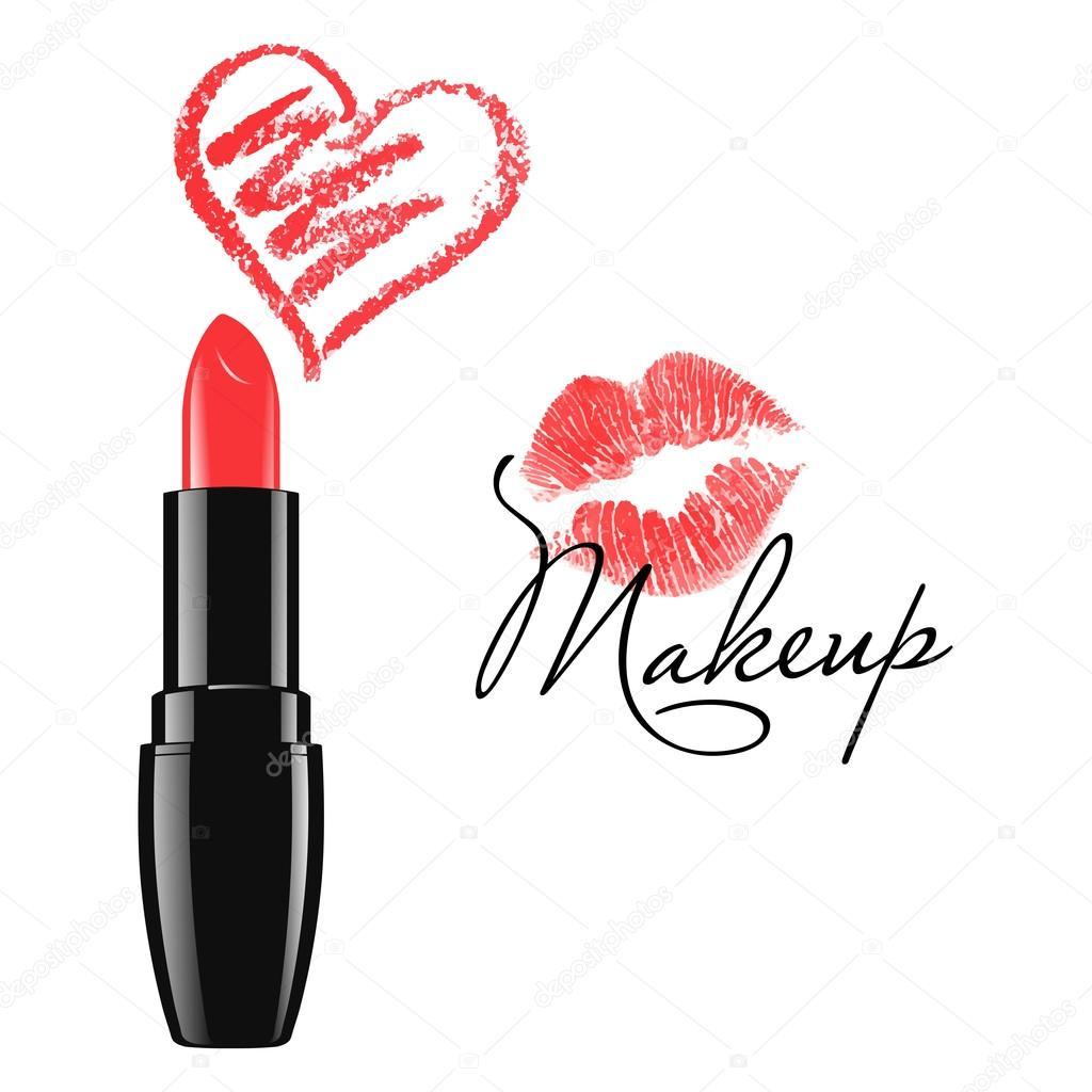 Kiss And Makeup Svg: Trucco Rosso Rossetto E Doodle Isolato Del Cuore