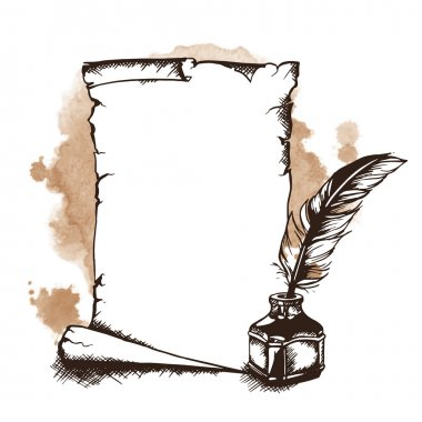 Paper scroll, feather and inkwell. Vector illustration