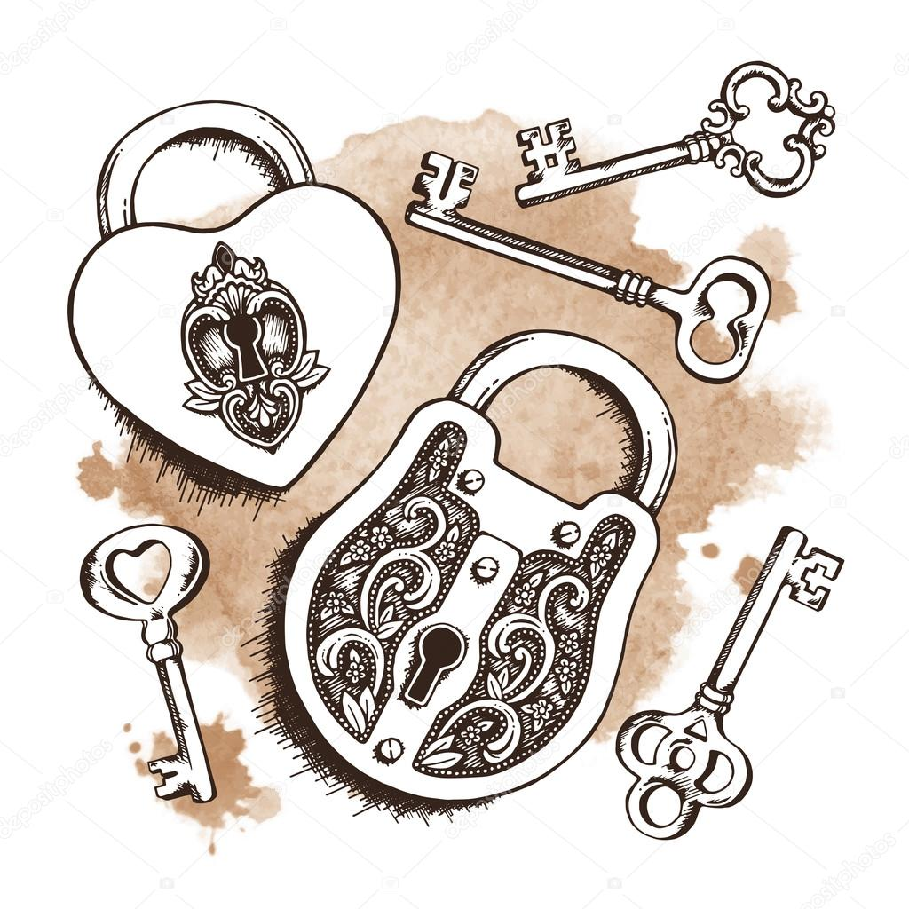 Keys and locks over watercolor background. Isolated Vector illustration.