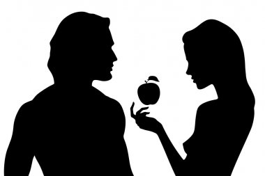 Vector silhouette of beautiful man and woman in profile