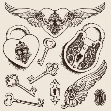 Keys and locks Vector illustration. Heart shaped padlock with wings in vintage engraved style with elegant keys