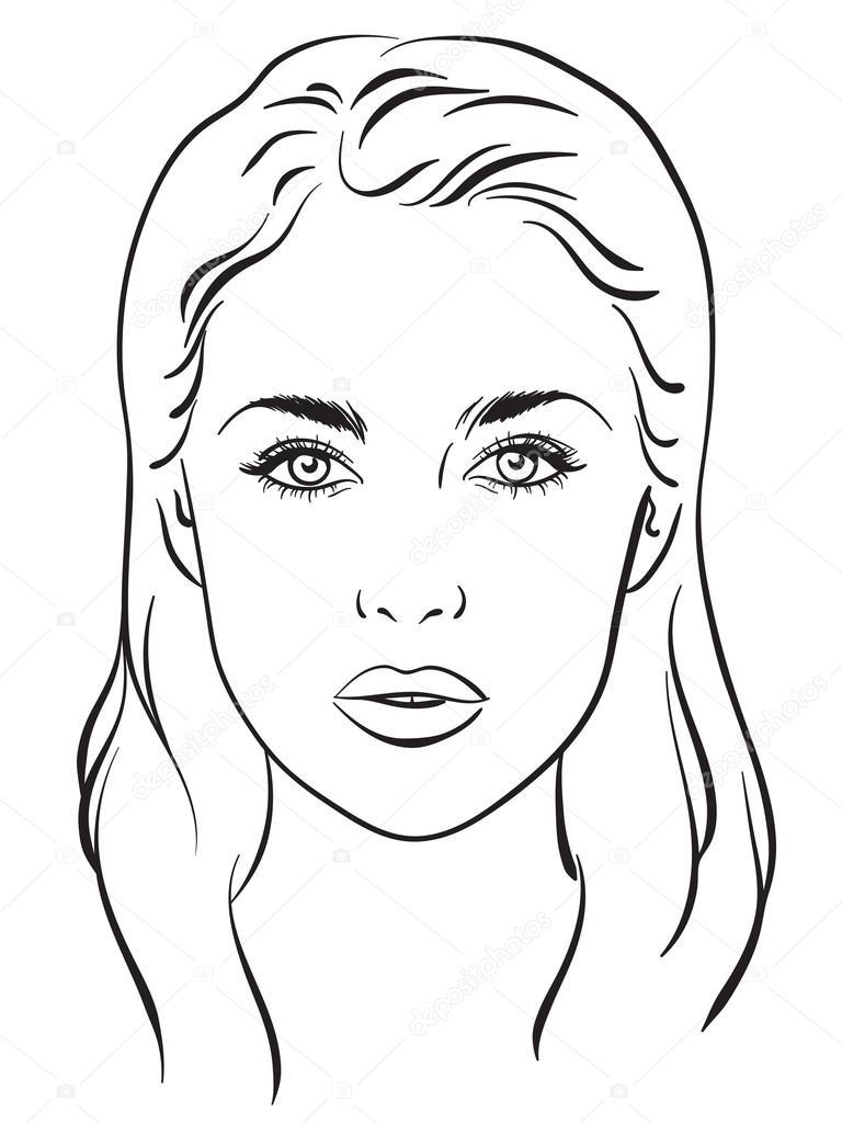 Illustration Visage beautiful woman portrait. face chart. vector illustration. — stock