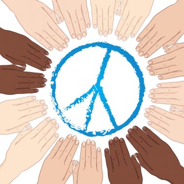 Vector illustration human hands in circle around sign of peace
