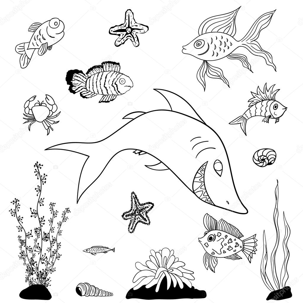 Fishes coloring pages ⬇ Vector Image by © varuna | Vector Stock 72454681