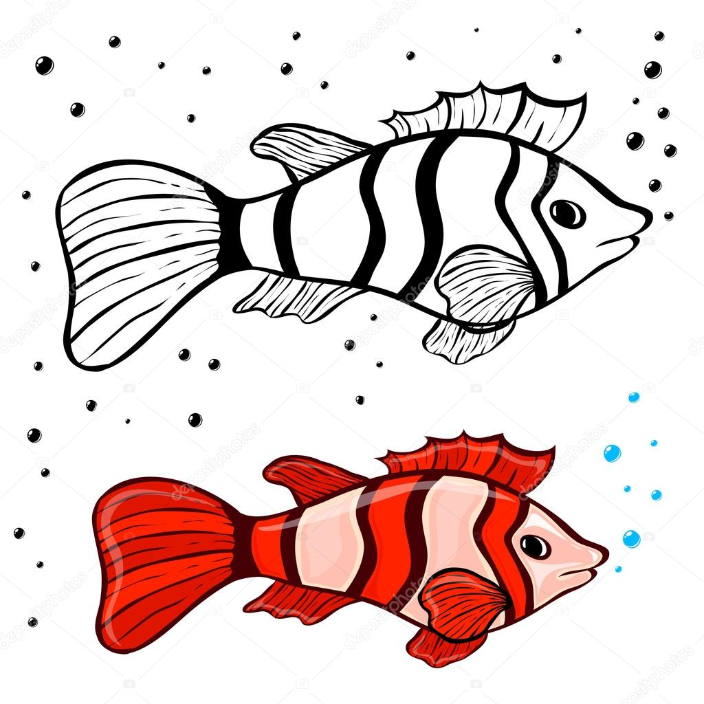 fish coloring pages — Stock Vector © varuna #77449010