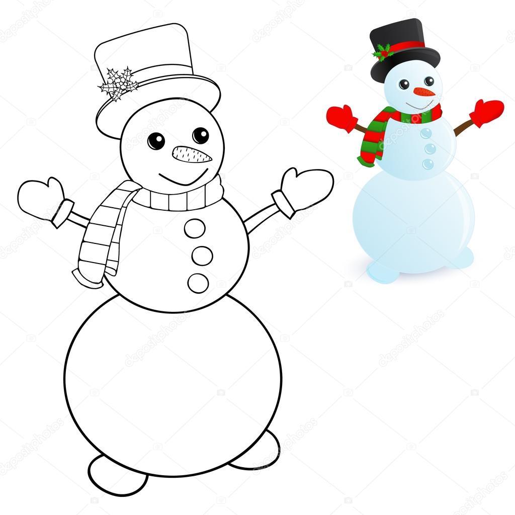 muñeco de nieve para colorear páginas — Archivo Imágenes Vectoriales ...