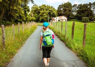 woman walking Camino de Santiago