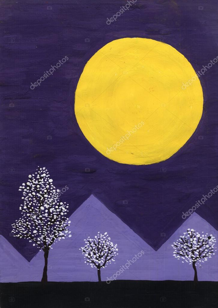 Landscape with the moon. Violet sky.