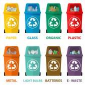 Fotografia Illustrazione vettoriale di riciclare colorati diversi cestini per rifiuti, rifiuti