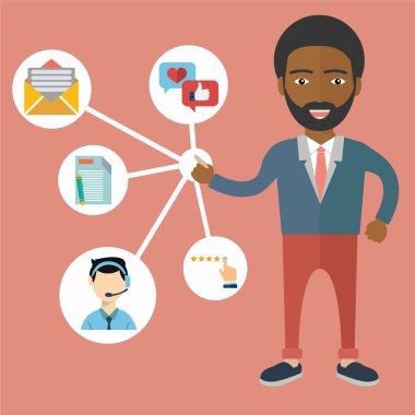 African businessman presenting customer service