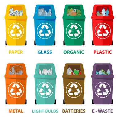 Different colored recycle waste bins vector illustration, Waste