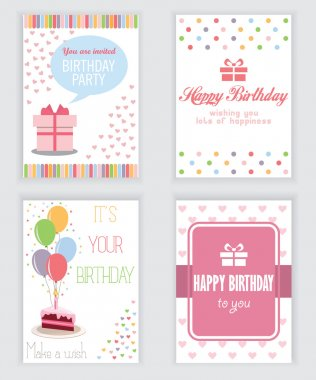 happy birthday, holiday, greeting and invitation card. there are typography, gift boxes, confetti, cake and teddy bear. layout template in A4 size. vector illustration