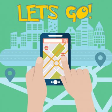 Mobile gps navigation on mobile phone with map and pin vector illustration, Lets GO