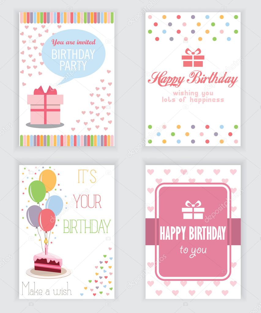 happy birthday holiday greeting and invitation card there are