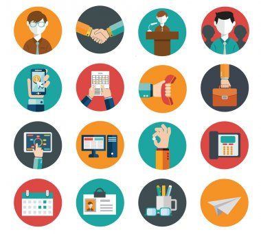 Flat modern human resources, office and management icons set.