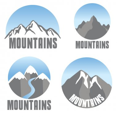Mountains emblem set, modern design