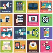 ikony digitálního marketingu, video, reklama, sociální mediální kampaň, bulletin propagace, platit na klepněte na službu, webové stránky seo optimalizace. plochý design moderní vektorové ilustrace koncept.