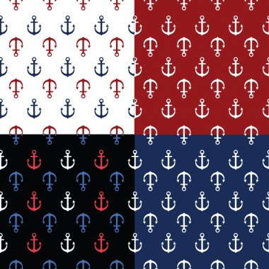 Vector set of 4 patterns with marine anchors