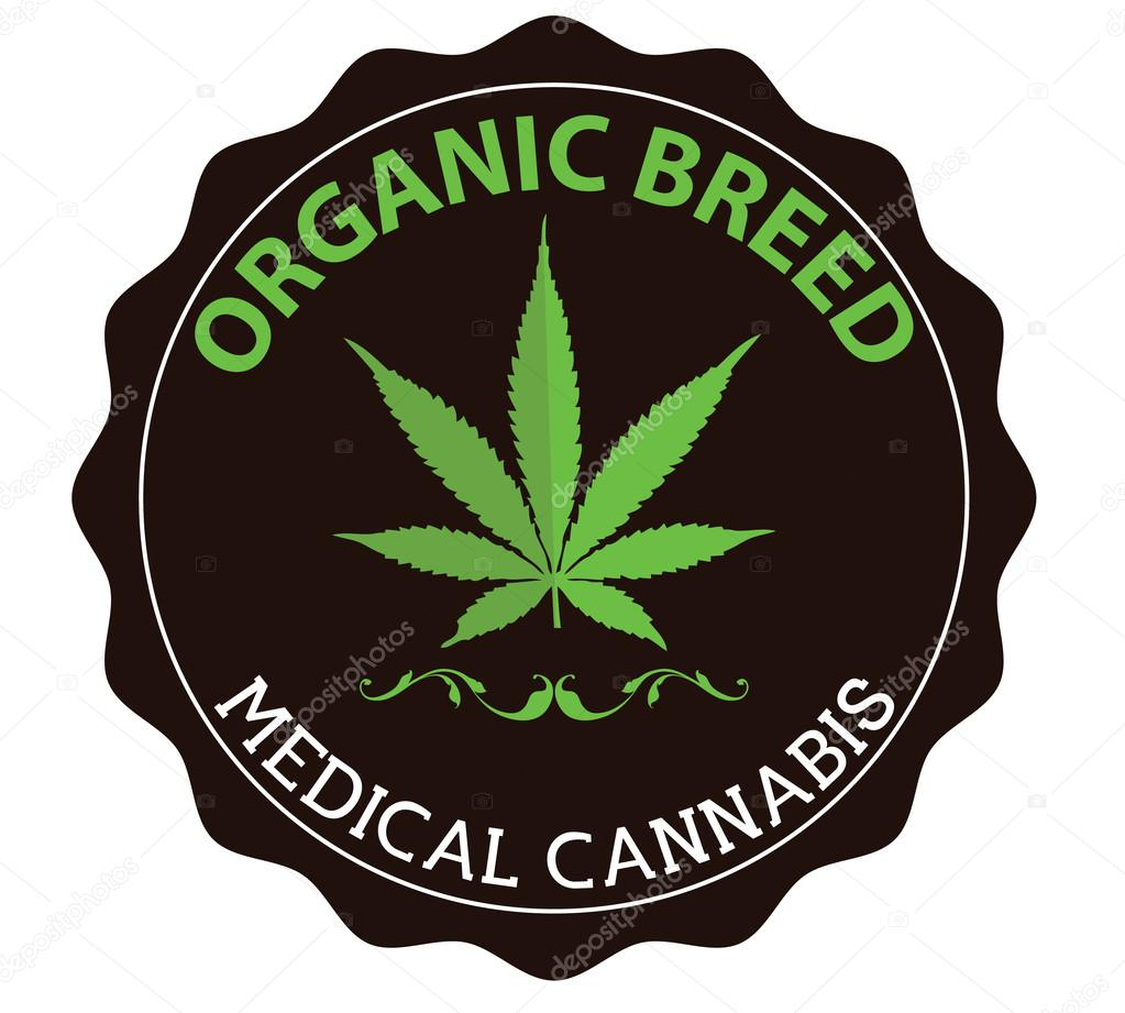Medical marijuana sign with light green cannabis leaf
