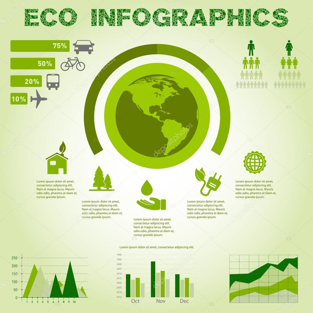 Green energy, ecology info graphics collection - ENERGY industry - charts, symbols, graphic elements
