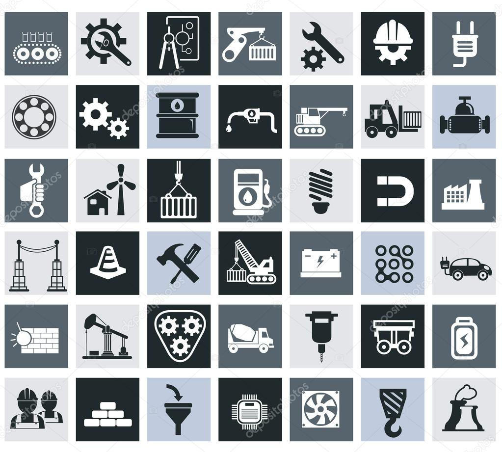 Industry, energy and construction icons set, industrial and ...