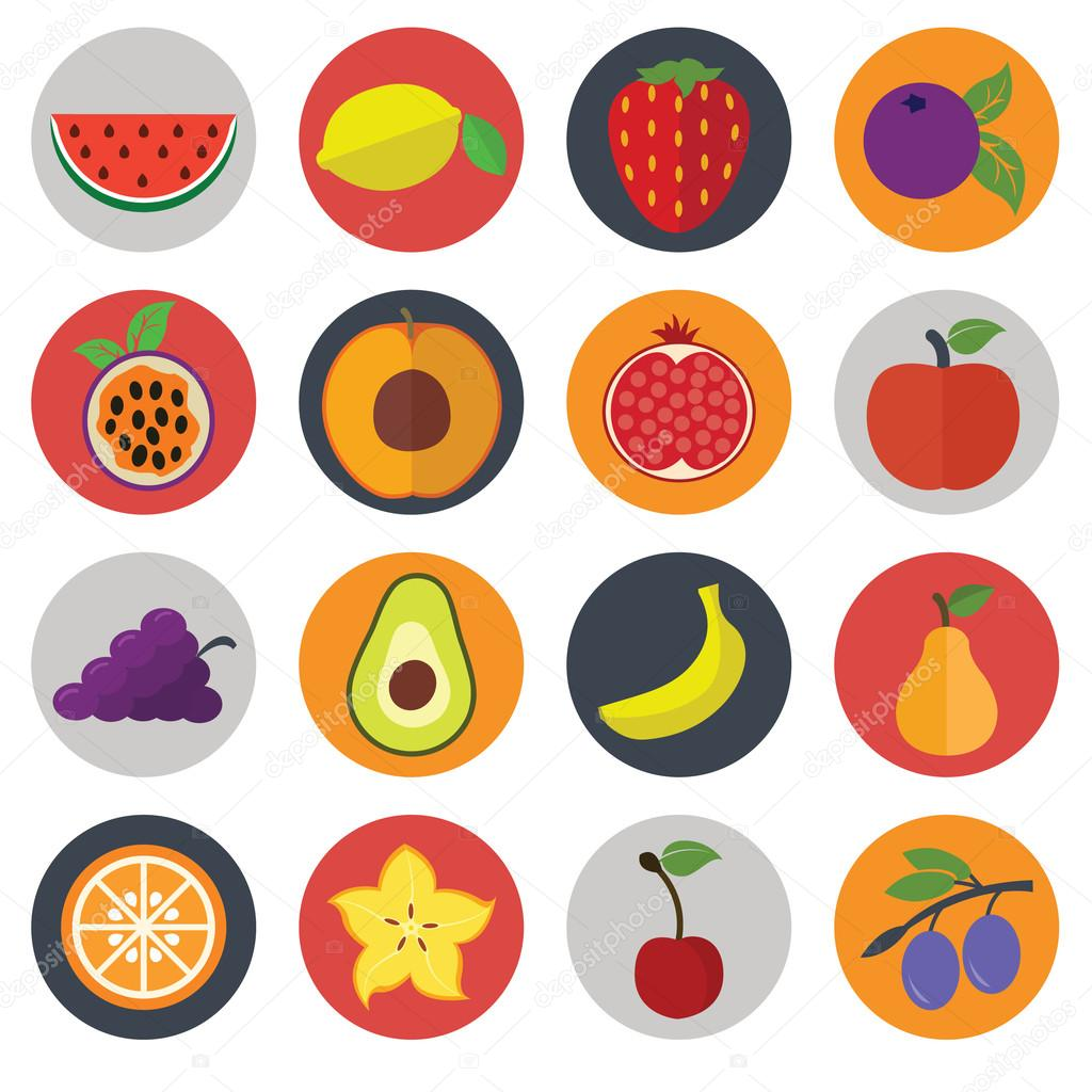 Set of flat design concept icons for food and restaurant. Healthy organic fruit and diet