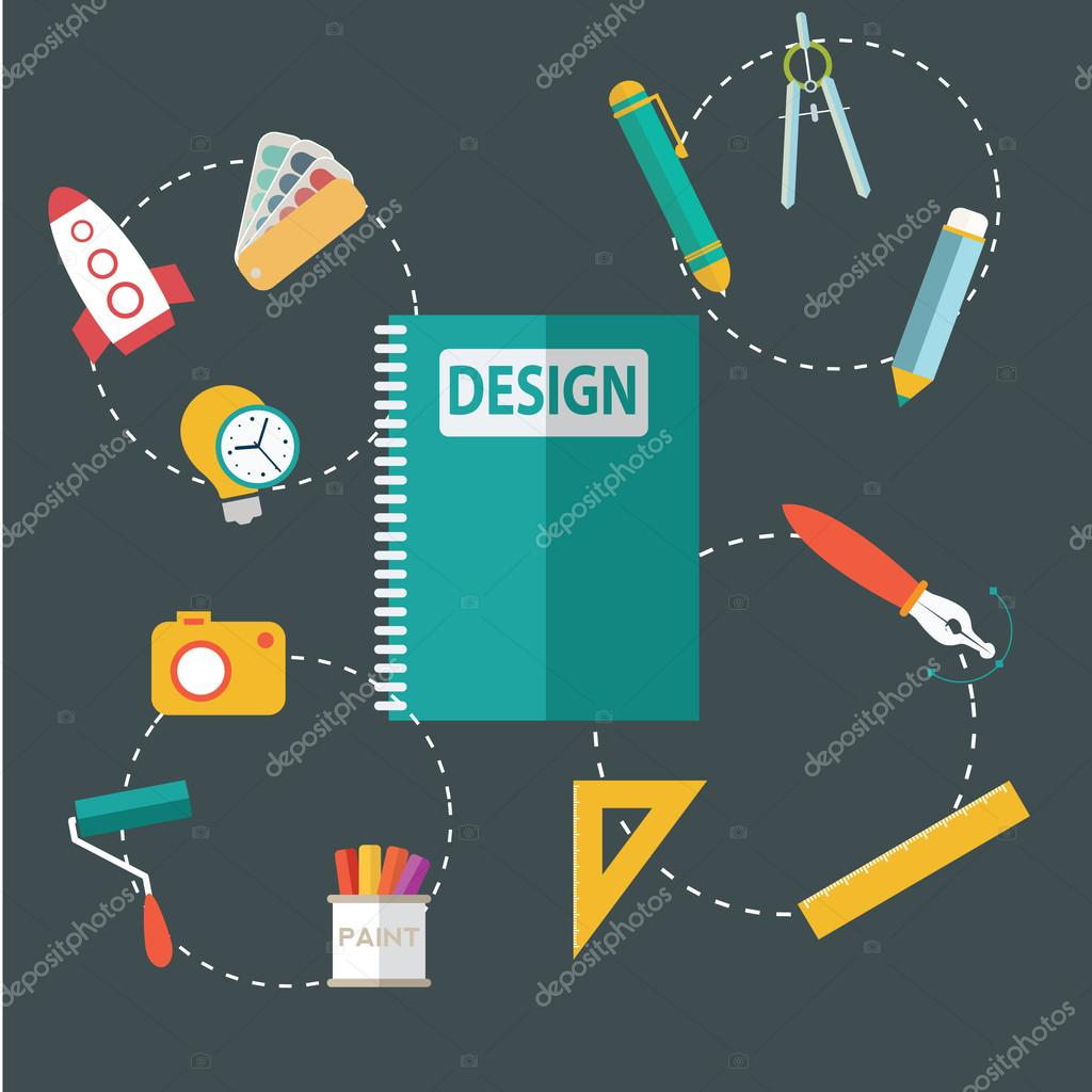 Modern flat design icons on design development theme. Icons for graphic design, web design, branding, packaging design, freelance designers, photography and creative design process