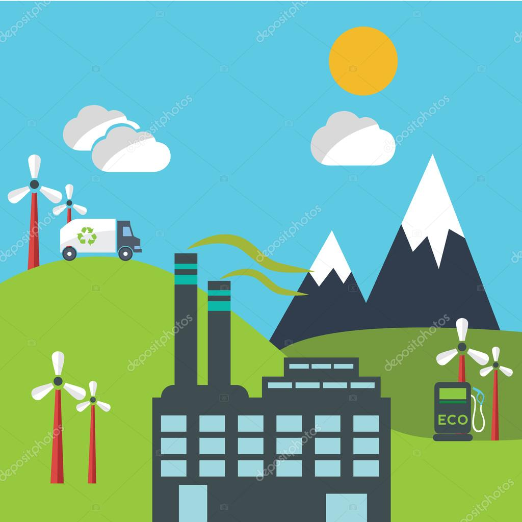Vector flat design concept illustrations with icons of ecology, environment, green energy and pollution
