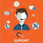 obchodní zákaznické péče servisní koncept ploché ikony sadu kontaktů, které nás podporují pomoci stůl telefonního hovoru a webové stránky klikněte pro infografiky designu webové prvky vektorové ilustrace