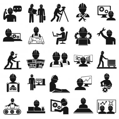 Computer service and Engineering vector icons set stock vector