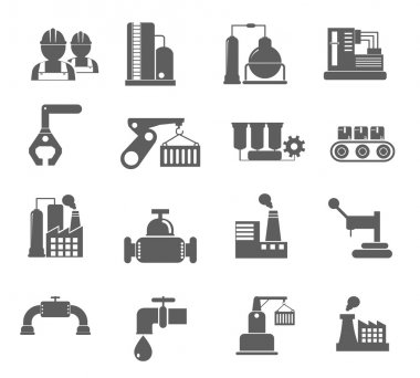 Industry, energy and construction icons set, industrial and engineering