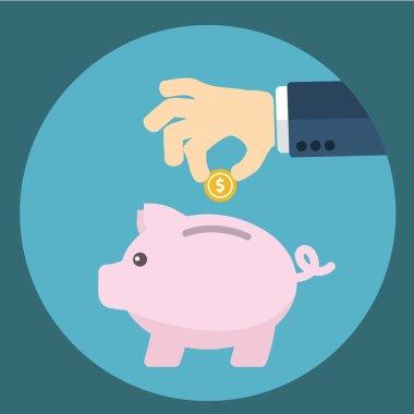 Vector piggy bank concept in flat style - money savings , Inserting a coin into a piggy bank
