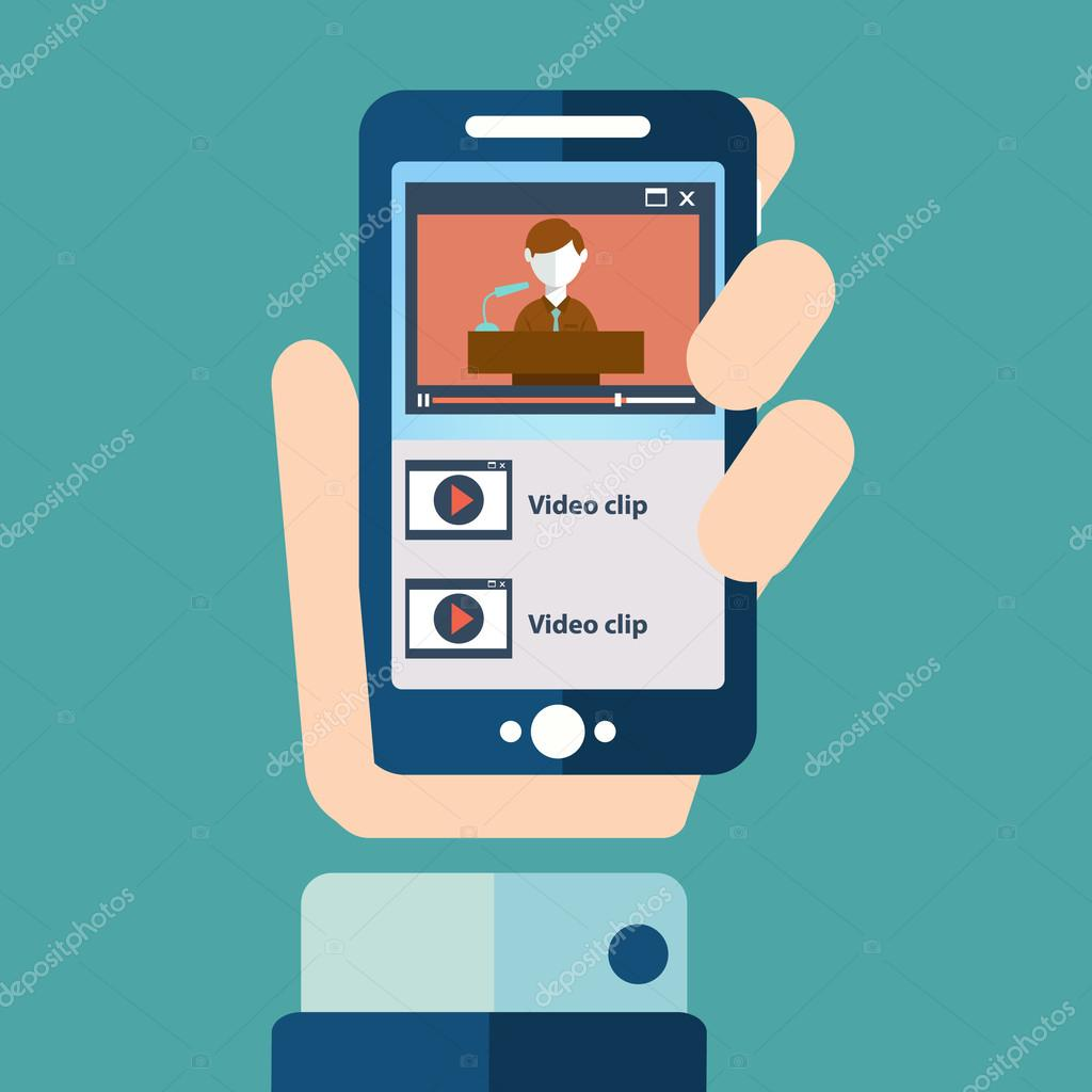 Flat design illustration concepts for smartphone video playing,video call, mobile meeting, online video chat , with a hand holding a phone