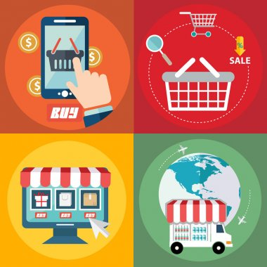 Vector collection of modern flat and colorful shopping icons concept. Online shopping and pay per click. Design elements for mobile and web applications.