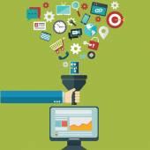 Plochý design ilustrace koncepty pro tvůrčí proces, filtr velkých dat, datové tunel, analýza koncepce