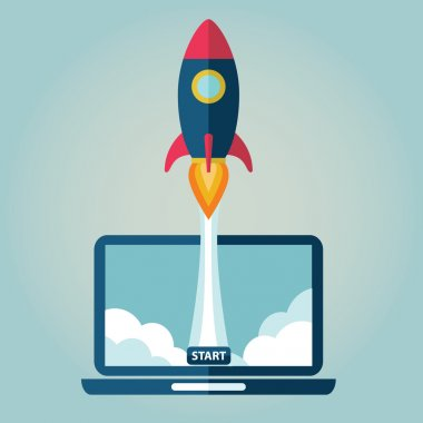 Flat rocket flying from laptop . Start up concept. Project development. stock vector