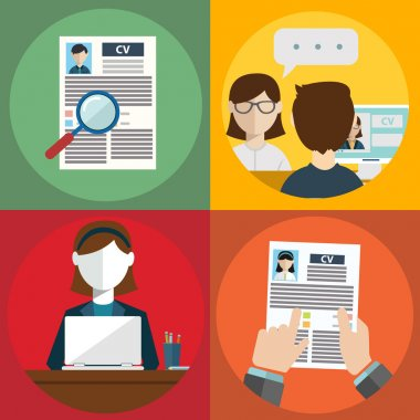 Job hunting, job search, human resources icons set, CV